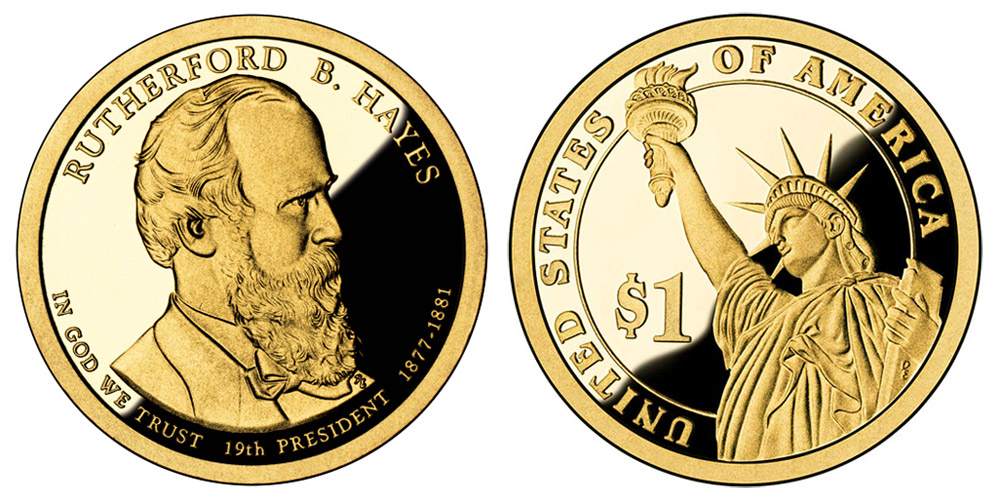 2011 S Presidential Dollar Rutherford B Hayes Golden