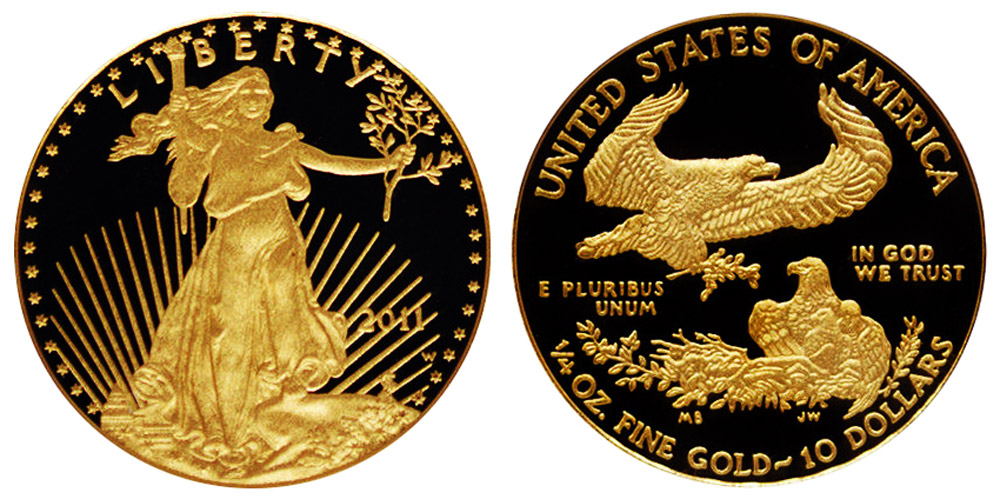 2011 W American Gold Eagle Bullion Coins Proof 10 Quarter