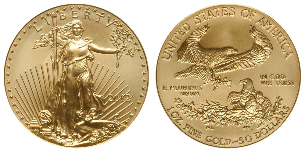 2012 P American Gold Eagle Bullion Coins 50 One Ounce