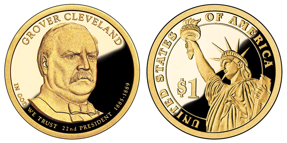 2012 S Presidential Dollars Grover Cleveland Golden Dollar