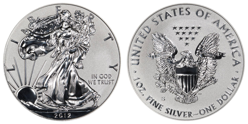 2012 S American Silver Eagle Bullion Coins Reverse Proof