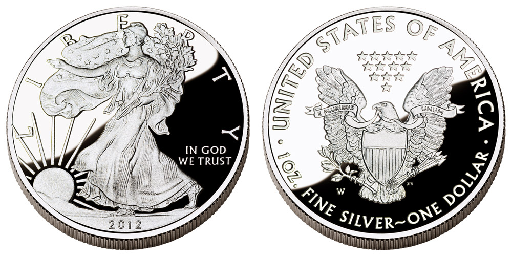 2012 W American Silver Eagle Bullion Coin Proof One Troy