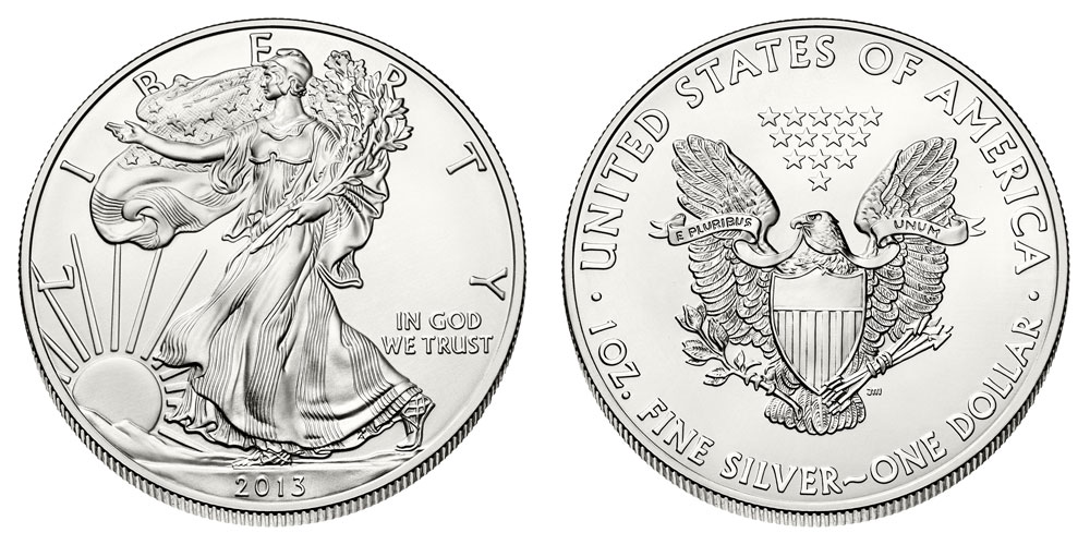 2013 W ENHANCED UNCIRCULATED SILVER EAGLE FROM WEST POINT SET ONE COIN IN CAP