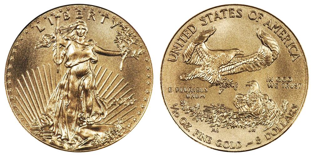 2013 American Gold Eagle Bullion Coin 5 Tenth Ounce Gold