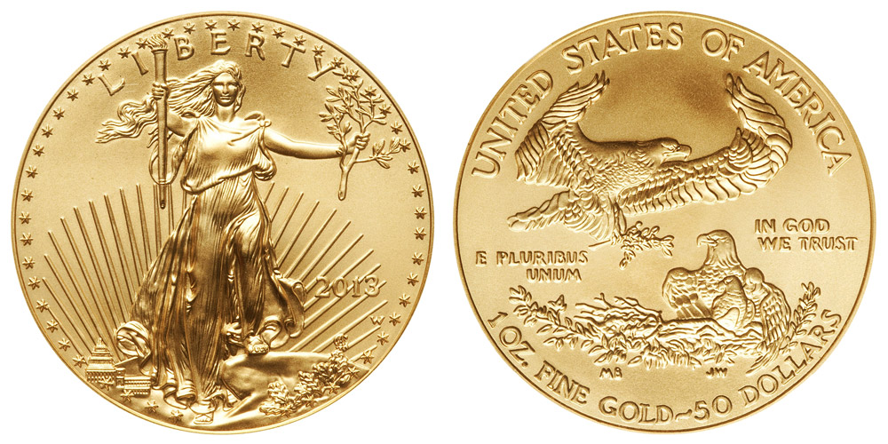 2013 W American Gold Eagle Bullion Coins Burnished 50 One