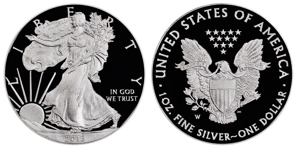 2013 W American Silver Eagle Bullion Coin Proof One Troy