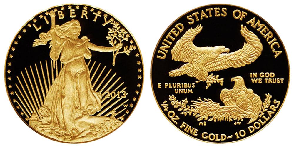 2013 W American Gold Eagle Bullion Coin Proof 10 Quarter