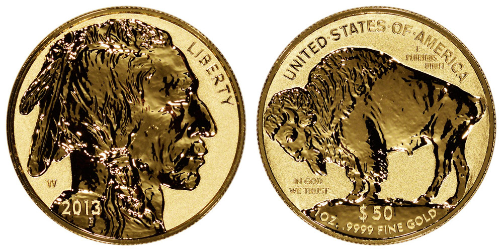 2013 W Gold American Buffalo Bullion Coin Reverse Proof 50 One Ounce 24 Karat Gold Coin Value