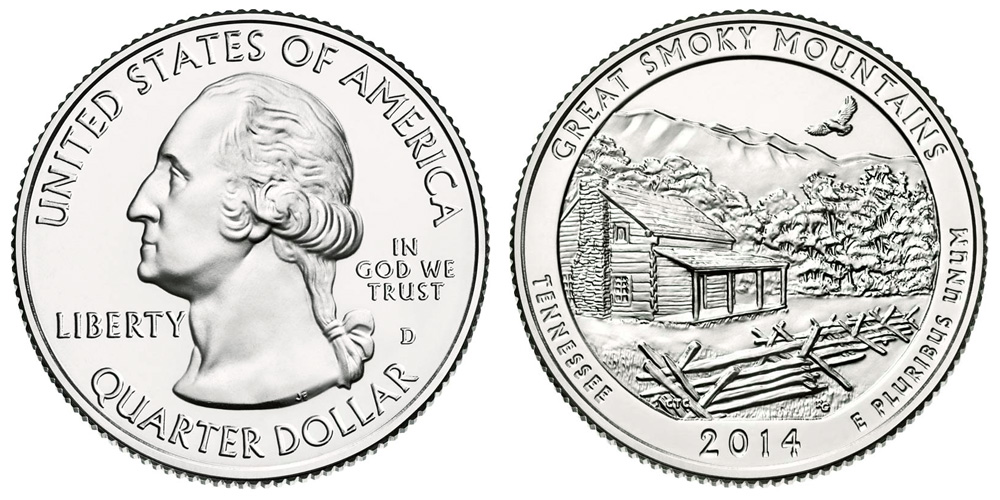 UNITED STATES    25 Cents   2014 D    UNC   SMOKY MOUNTAINS  *