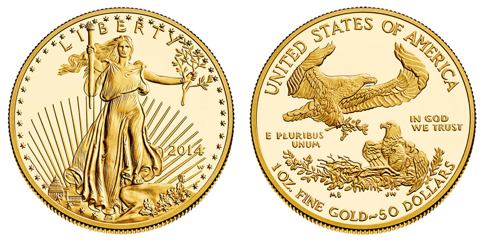 2014 W American Gold Eagle Bullion Coins Proof 50 One