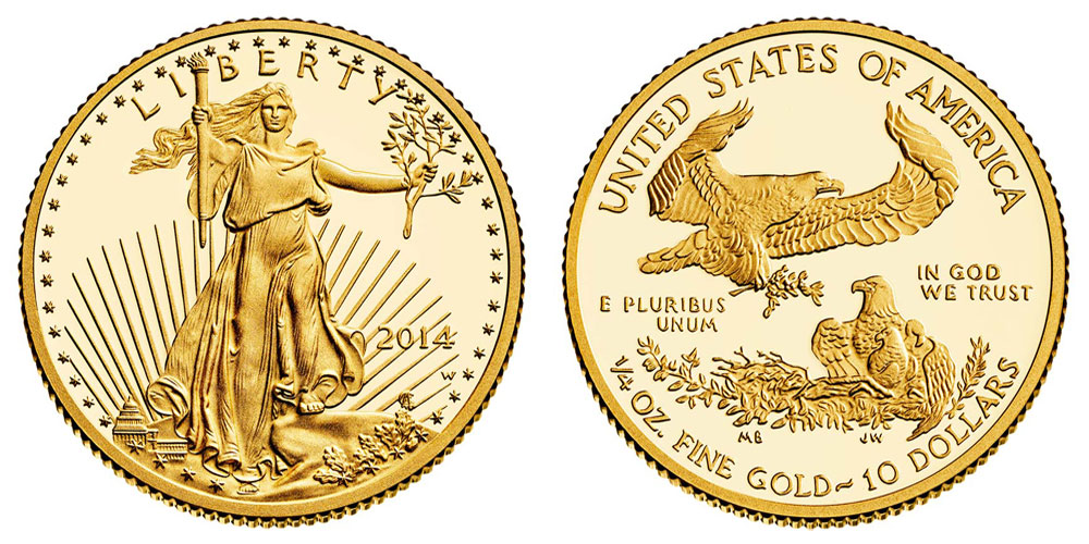 2014 W American Gold Eagle Bullion Coins Proof 10 Quarter