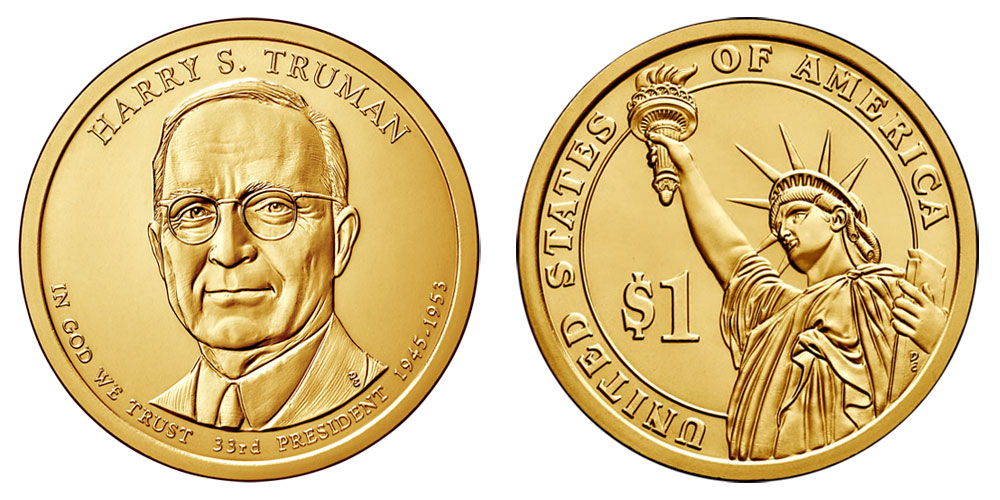 Presidential Dollar Coins - $1 Golden Presidents Coins