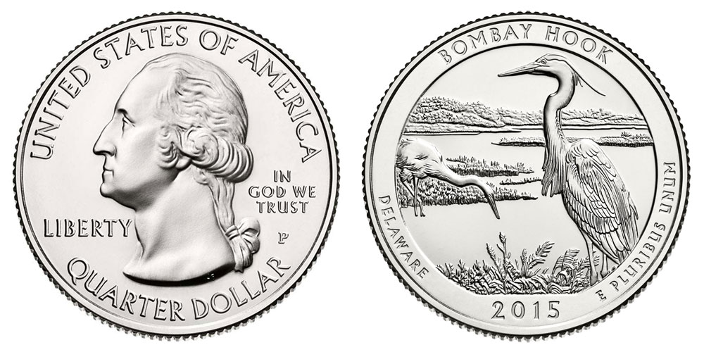 2015 BOMBAY HOOK COLORIZED AMERICA/'S BEAUTIFUL NATIONAL PARKS QUARTER P