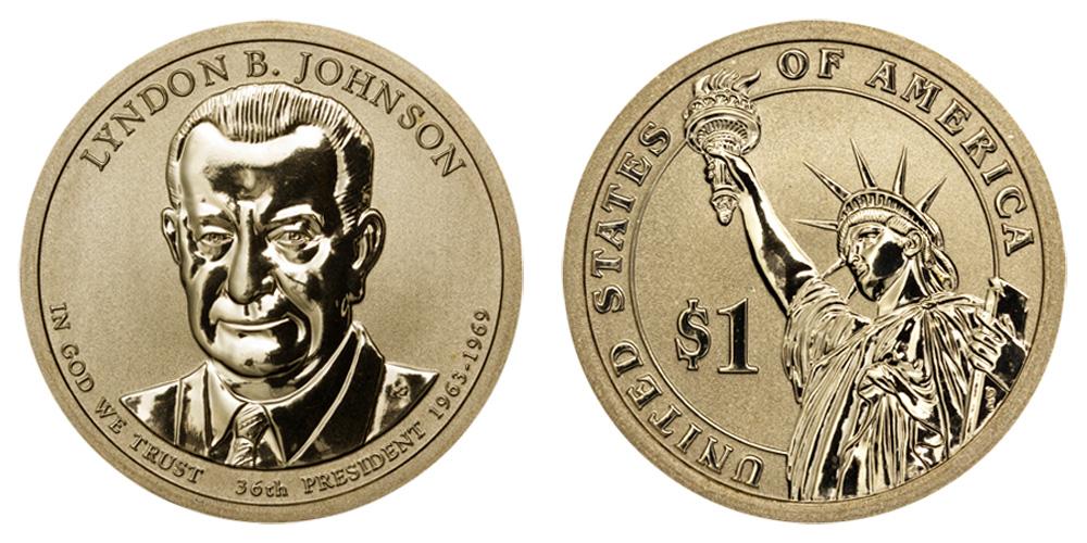 JOHNSON  PRESIDENTIAL DOLLAR COIN 2015-P LYNDON B