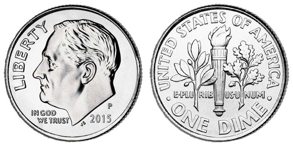50 Coins 2015 P Roosevelt Dime Roll