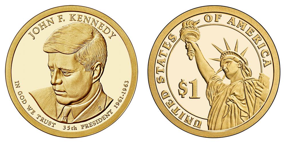 2015 S Proof  Presidential J F Kennedy Dollar Coins 2