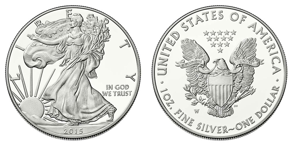 2015 W American Silver Eagle Bullion Coin Proof One Troy