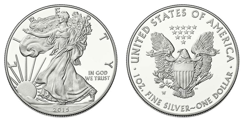 2015 W American Silver Eagle Bullion Coins Proof One Troy