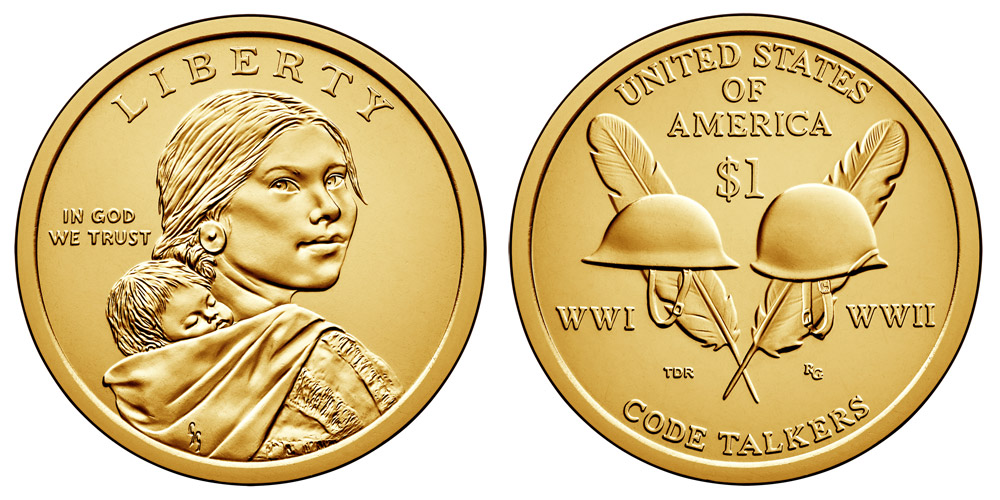 2016 P Sacagawea Dollars Code Talkers From World War I And Ii