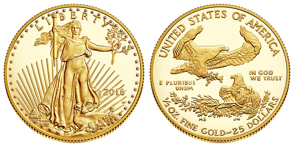 2016 W American Gold Eagle Bullion Coins Proof 25 Half