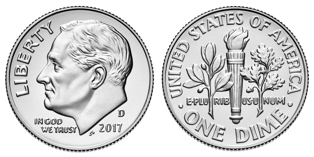 2017-d 2017 d 2017d Roosevelt Dime uncirculated full roll OBW