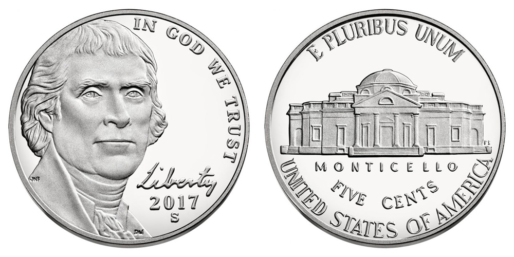 Directly From Proof Sets 40-Coin Roll of 2017-S Proof Jefferson Nickels