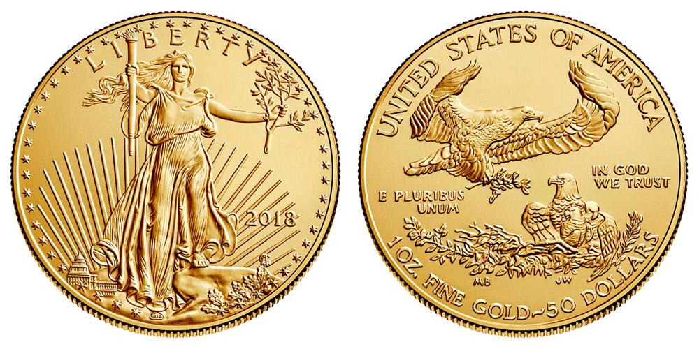 2018 Bullion One Ounce American Gold Eagle 1 Oz 50