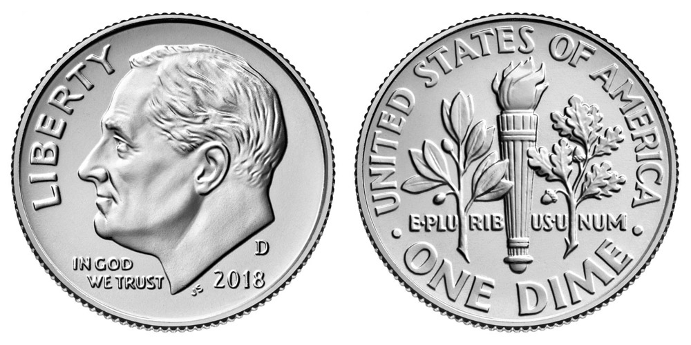 2018-D 10C Roosevelt Dime