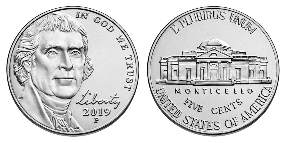 Jefferson Nickel 2019-P 5 Cents