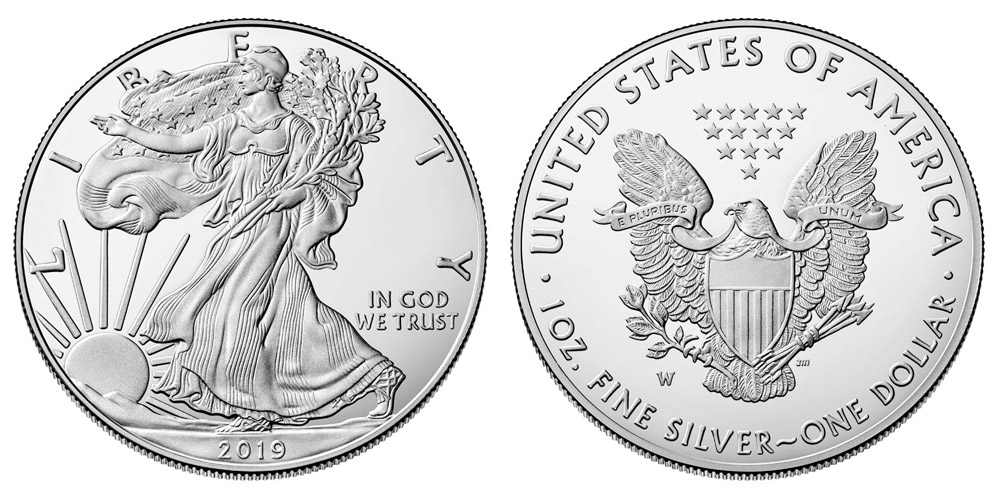 2019 W American Silver Eagle Bullion Coin Proof One Troy
