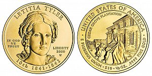 2009 Letitia Tyler First Spouse Gold Coin