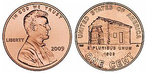 2009 Lincoln Bicentennial Cent - Birth and Early Childhood Log Cabin in Kentucky