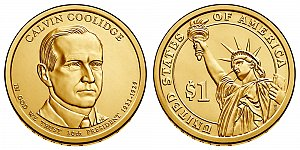 2014 Calvin Coolidge Presidential Dollar Coin Design