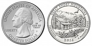 2014 Great Smoky Mountain National Park Quarter Design - Tennessee