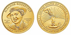 2014 Eleanor Roosevelt First Spouse Gold Coin