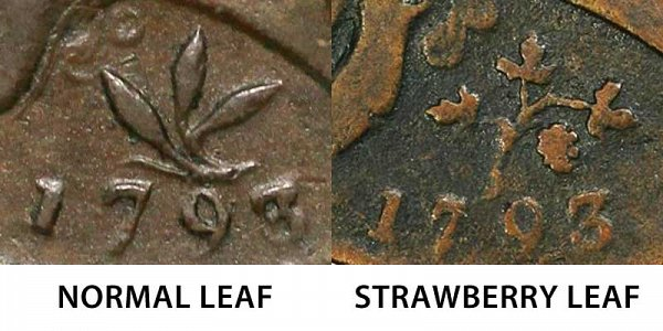 1793 Strawberry Leaf vs Normal Leaf Flowing Hair Large Cent - Difference and Comparison