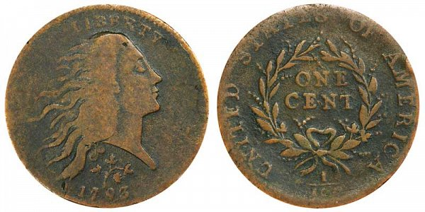 1793 Flowing Hair Large Cent Penny - Strawberry Leaf - Wreath Reverse