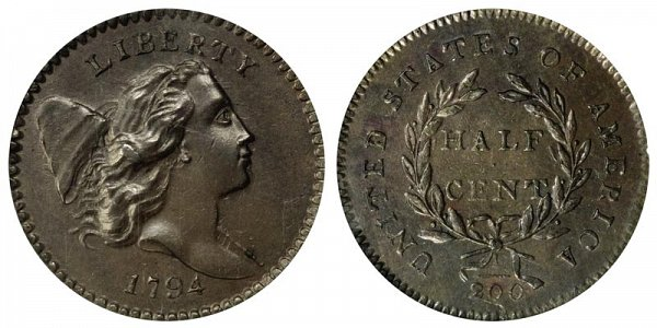 1794 Liberty Hap Half Cent Penny - High Relief
