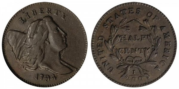 1794 Liberty Hap Half Cent Penny - Normal Head - Low Relief