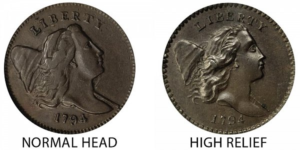 1794 Normal Head (Low Relief) vs High Relief Liberty Cap Half Cent - Difference and Comparison