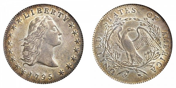 1795 Flowing Hair Silver Dollar - 3 Leaves