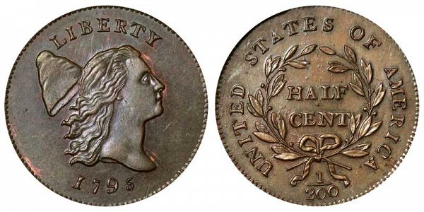1795 Liberty Cap Half Cent Penny - With Pole - Lettered Edge