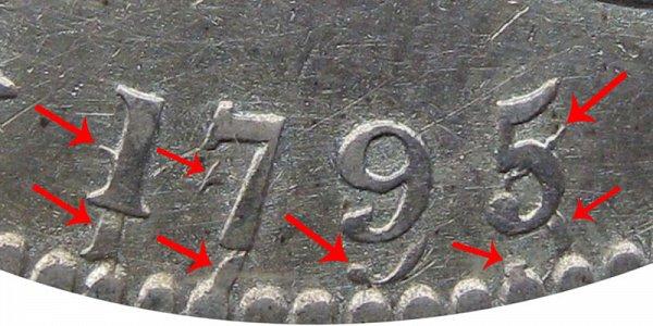 1795 Recut Date Closeup Example - Flowing Hair Half Dollar