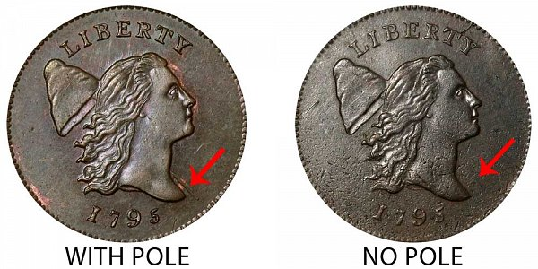 1795 With Pole vs No Pole Liberty Cap Half Cent - Difference and Comparison