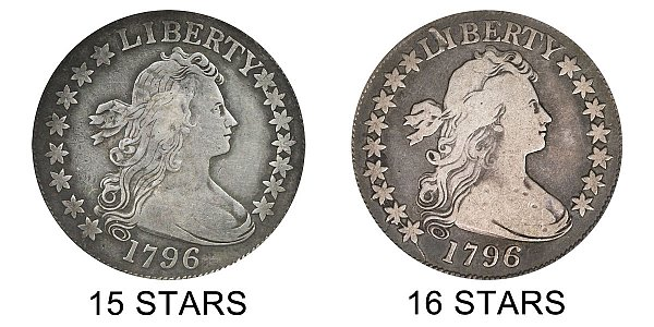 1796 15 Stars vs 16 Stars Draped Bust Half Dollar - Difference and Comparison