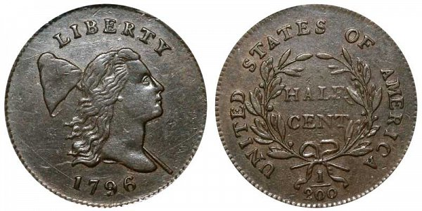 1796 Liberty Cap Half Cent Penny - With Pole