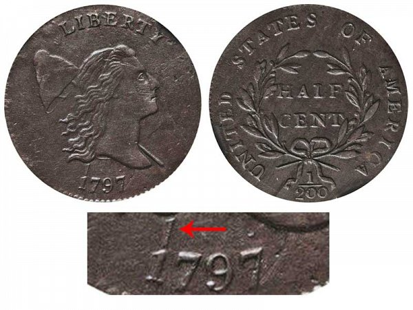 1797 Liberty cap Half Cent Penny - 1 Above 1 Error