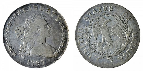 1797 Draped Bust Silver Dollar - 10 Stars Left - 6 Stars Right