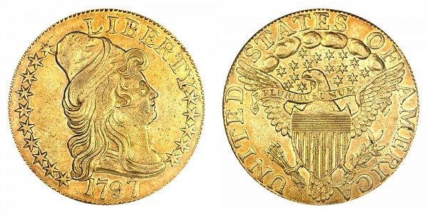 1797 15 Stars Large Eagle - Turban Head $5 Gold Half Eagle - Five Dollars