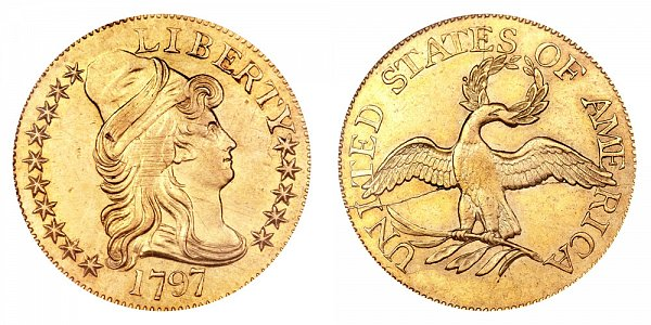 1797 15 Stars Small Eagle - Turban Head Gold Half Eagle - Five Dollars